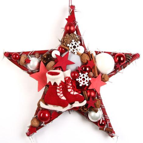 Stern mit Lichterkette in weihnachtsrot und weiß.