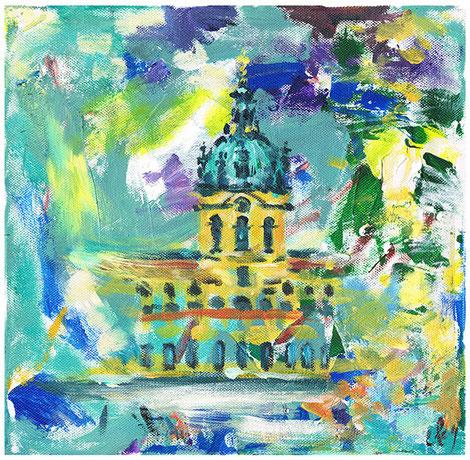 Schloss Charlottenburg . 30 x 30 cm Acryl auf Leinwand .