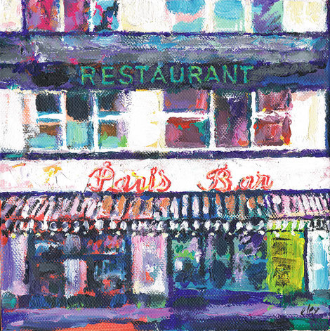 Paris Bar . Acryl auf Leinwand . 20 x 20 x 3,5 cm .