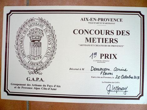 1er Prix du Concours des Métiers Octobre 2013