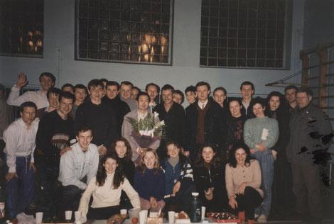 Мастер Му Юйчунь с учениками, 1990-ые годы