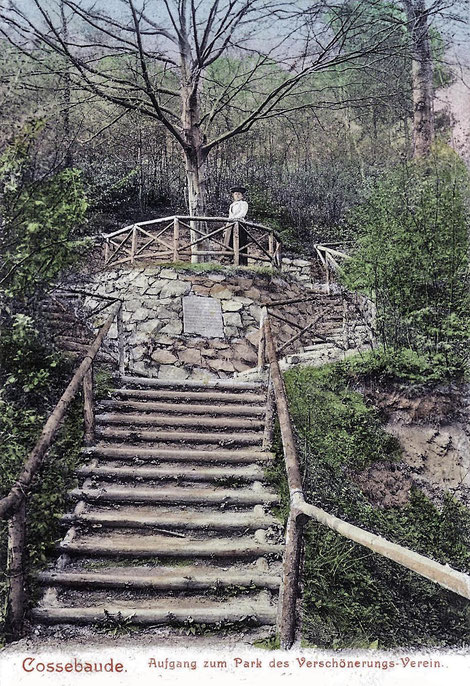 Der ehemalige Parkeingang, Ansichtskarte um 1910, Archiv HVVC