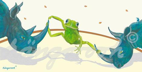 Postkarte: Frosch Mia und seine Freunde, die Nashörner