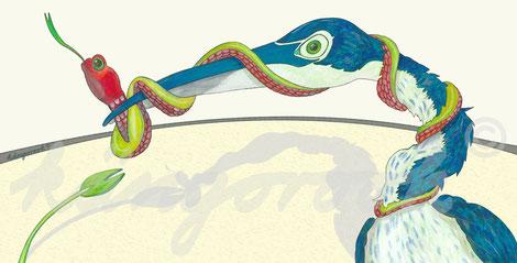 Postkarte: Reiher Elise und Schlange Leander