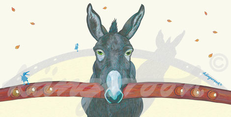 Postkarte: Esel Claus mit Stange /kängorooh / 2020