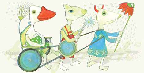 "Postkarte ""die freunde"" / Detail 1 /kängorooh/ 2016"