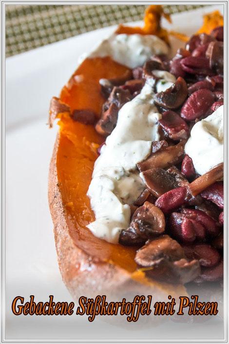 Gebackene Süßkartoffeln mit Pilzen-Rezept © Jutta M. Jenning mjpics