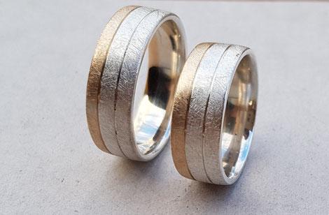 Zweifarbige Ringe Silber/Gold
