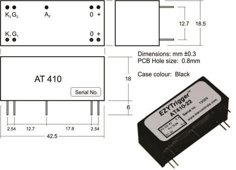 Thyristor Trigger Modul AT410 für Applikationen wie gesteuerte Gleichrichterschaltungen, Wechselstrom- bzw. Drehstrom-Stellschaltungen und Motorsteuerungen mit Gleichspannung