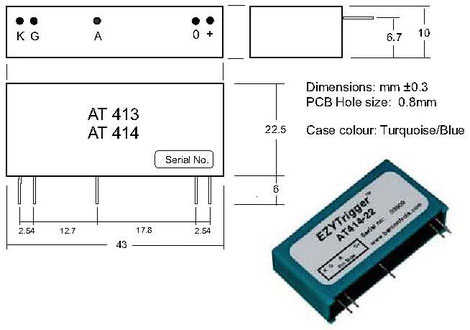 The SCR / Thyristor Trigger Unit AT413 is qualified for applications with a single thyristor trigger control by logic circuit output signals from microcontrollers, microprocessors, CPLDs or FPGAs