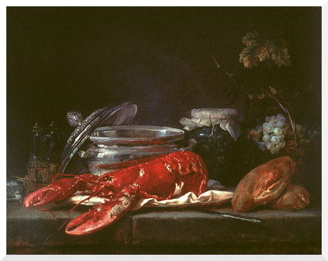 Gemälde von Anne Vallayer-Coster - Still Life with Lobster (1781)