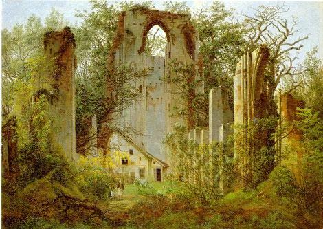 Kloster Eldena auf einem Gemälde von Caspar-David Friedrich