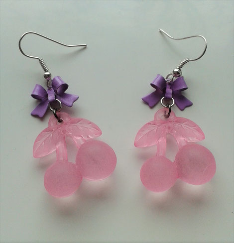 Pink Cherry earrings with Purple Bows