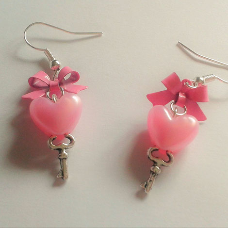 Heart Key Earrings with Pink Bows