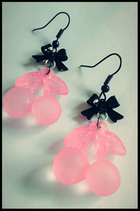 Pastel Goth Pink & Black Cherry earrings with Bows