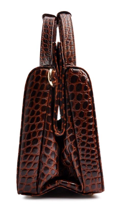Henkeltasche Vintagelook braun Krokodilleder-Optik OSTWALD Tradition Craft