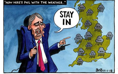"""""""Phil Hammond's Brexit vision"""", by Telegraph cartoonist Bob, Nov 29, 2018"""