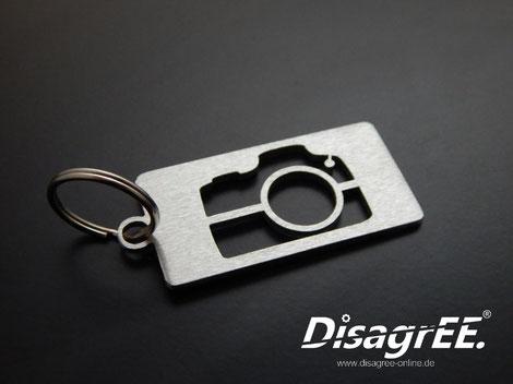 Edelstahl Schlüsselanhänger Fotografie Kamera Fotoapparat gebürstet