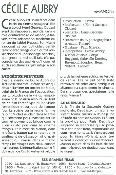 article Cécile Aubry Manon HG Clouzot