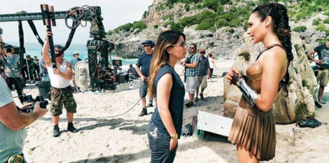 Wonder Woman director Patty Jenkins and actress Gal Gadot on set