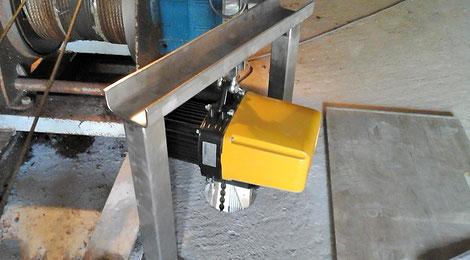 Installation eines Kettenzuges mit Aufhängung.