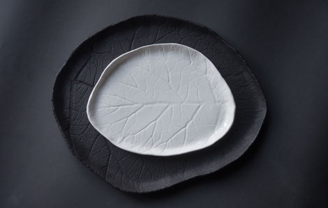 natural leaf pattern plates and bowls