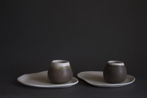 natural organic porcelain tableware, moss green