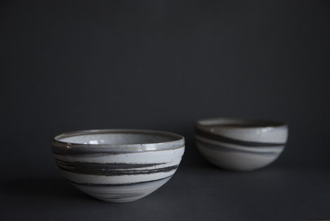 marbled pottery, black and white monochrome porcelain stoneware