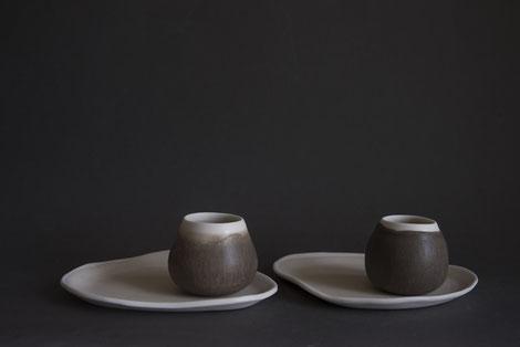 natural organic porcelain tableware, moss green