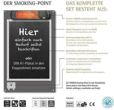 Plat für Raucher am Hotel oder Terrasse
