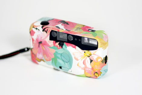 custom camera analog painted handmade vintage flower pattern by bobsmade.com