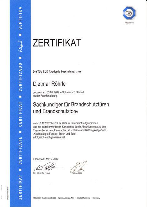 Zertifikat Sachkundiger für Brandschutztüren und Brandschutztore