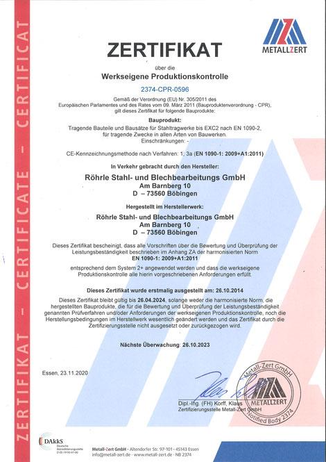 Zertifikat Werkseigene Produktionskontrolle (WPK) DIN EN 1090-1
