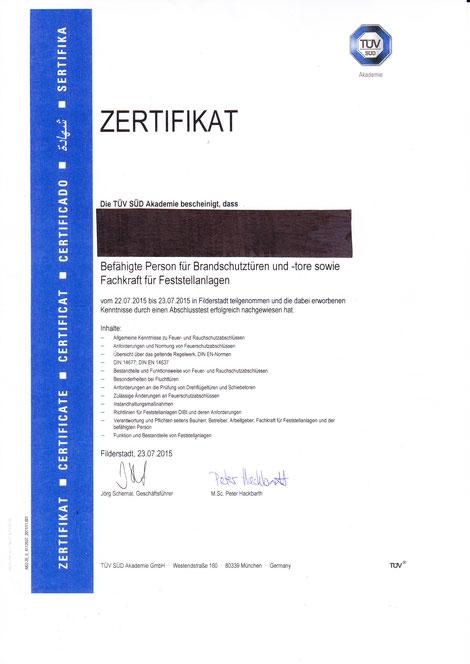 Zertifikat befähigte Person für Branschutztüren und -tore