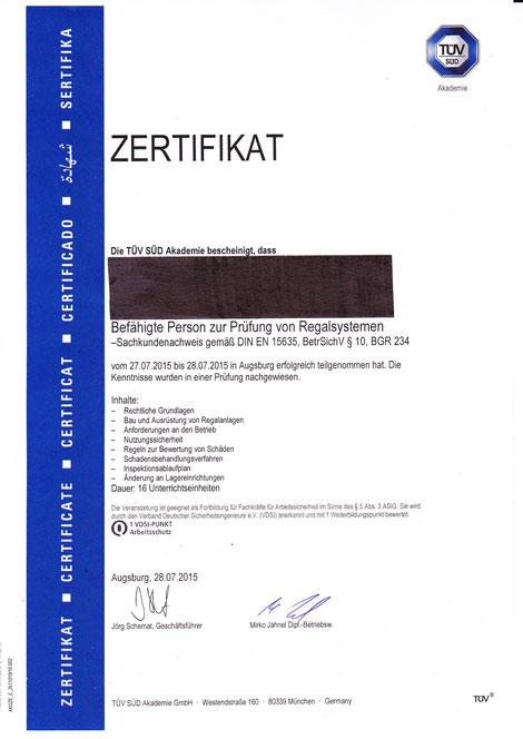 Zertifikat befähigte Person zur Prüfung von Regalsystemen