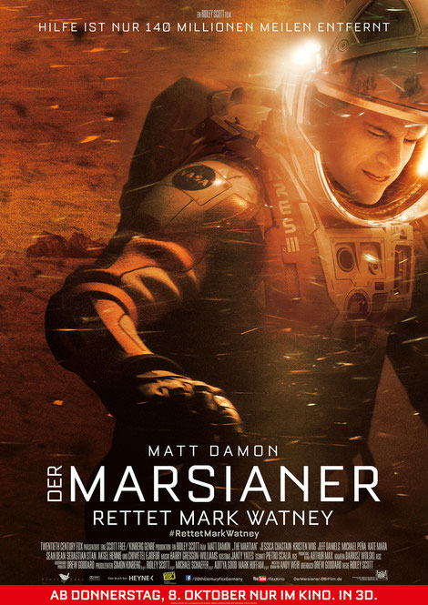 Der Marsianer Film - Ridley Scott - Matt Damon - Kate Mara - 20th Century Fox - kulturmaterial