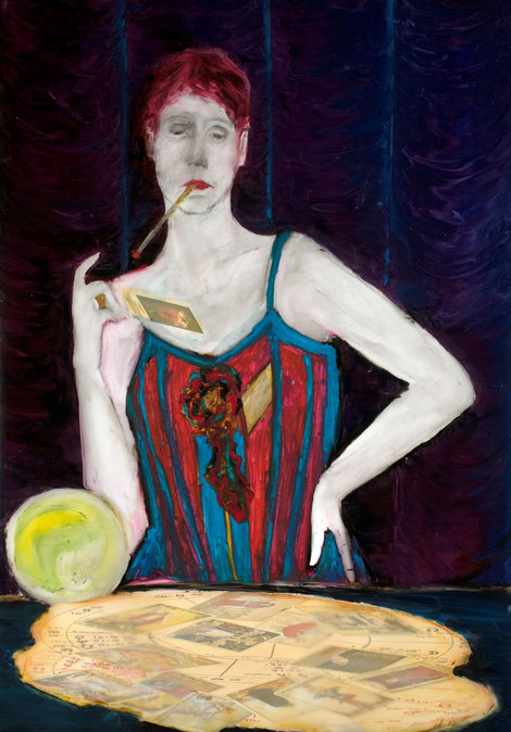 """The Fortune Teller or the Transparency of Opacity (Endless Impossibilities Series), 2011, oil/vellum, 24x36"""""""