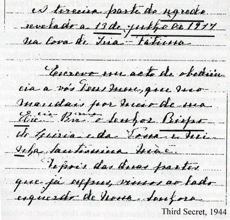 Confronto tra la quarta memoria scritta nel 1941, con l'inizio della terza parte del segreto scritta nel 1944