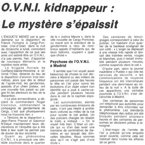Newspaper article about Franck Fontaine