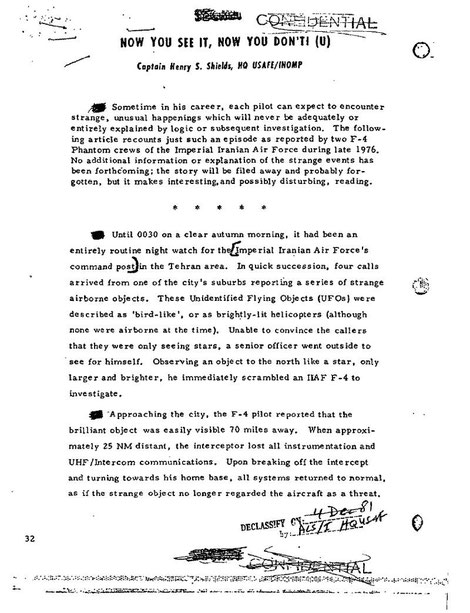 US Air Force files on the incident page 1