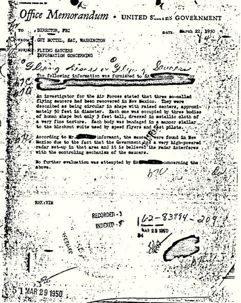 MEMO dell'FBI del 22 marzo 1950