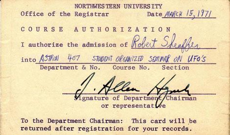 Autorizzazione di ammissione per Robert Sheaffer a seminario sugli UFO, tenuto da Josef Allen Hynek .