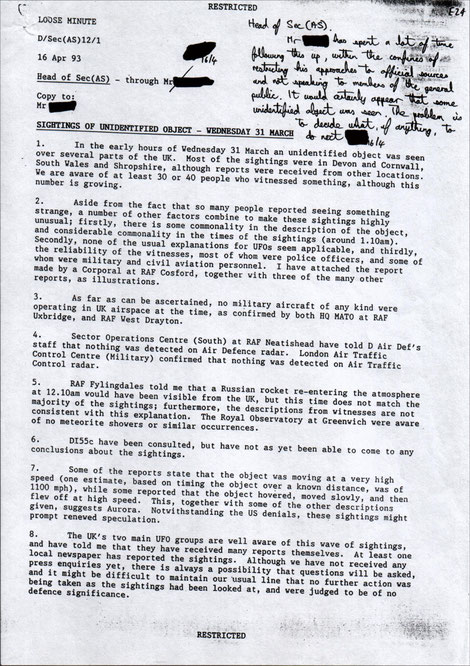 Nick Pope's report to MoD, extracted from DEFE 24/2086/1 (The National Archives)