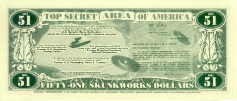 Retro banconota Area 51 ( falso ) 2005