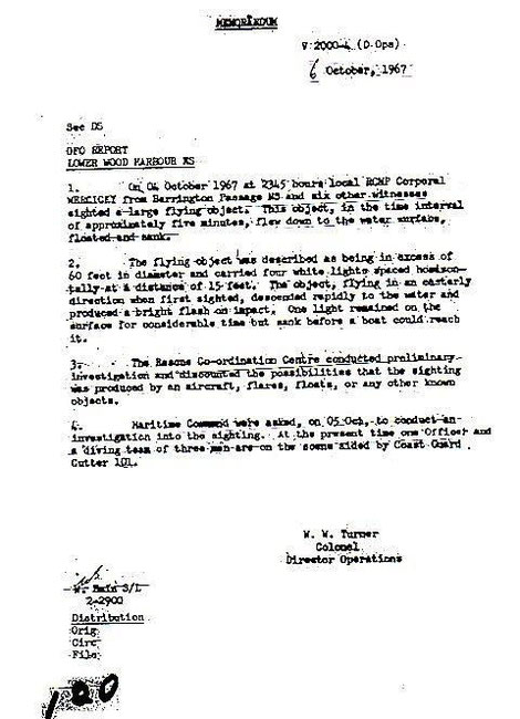 Memo from director of the rescue operations (10/6/67)