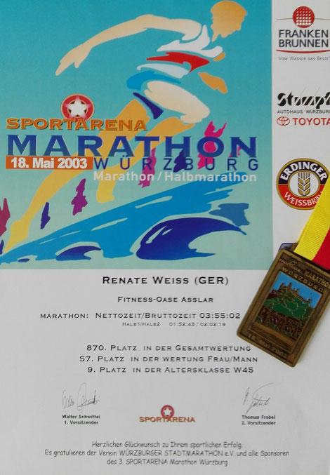 Urkunde Marathon Renate Weiß