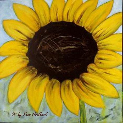 Acrylbild, acryl, blumen, blumenbilder, sonnenblume, blume, sonne, sommer,gelb, blau, braun , bilder, bild, malen, malerei, kunst, deko, dekoration, wandbild, abstrakt