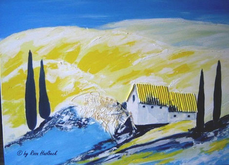 Acrylbild, collage,bäume, baum, haus, toskana, toskana collage,gelb, blau, gelb, bild, malen, malerei, kunst, geko, dekoration, wandbild, abstrakt