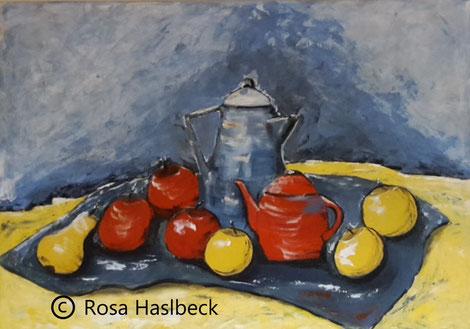 Acrylbild, acryl, birnen, obst, früchte,  stillleben, kaufen, herbst, gelb, blau, rot,,  bild, malen, malerei, kunst, geko, dekoration, wandbild, abstrakt, kaufen, schenken