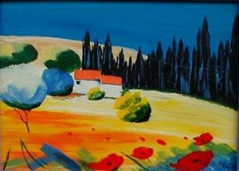 Acrylbild, acryl, toskana,bäume, baum, haus, büsche,  gelb, rot,, grün, blau, gelb, bild, malen, malerei, kunst, geko, dekoration, wandbild, abstrakt